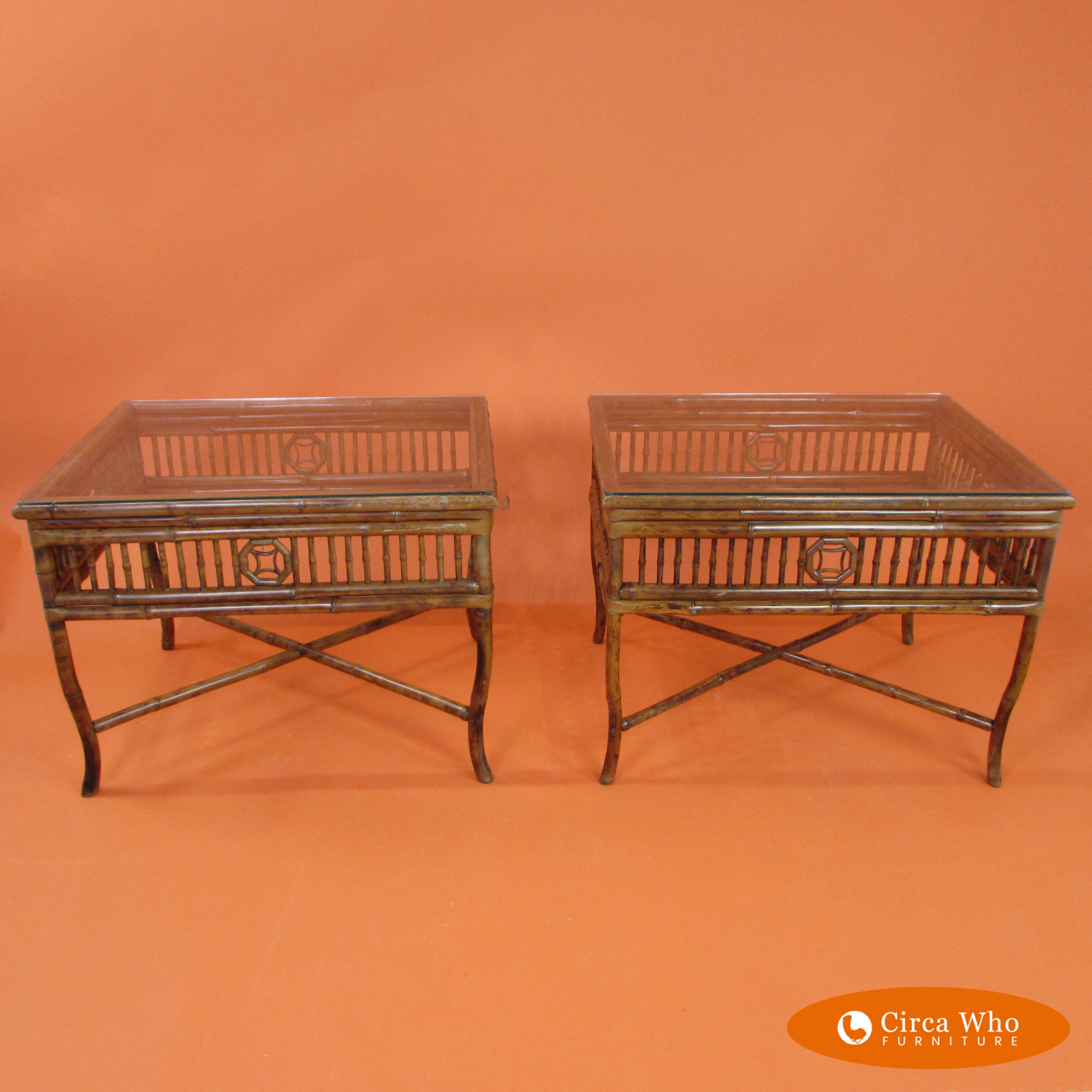 Rattan Table Pair Of Rattan Bamboo Tables