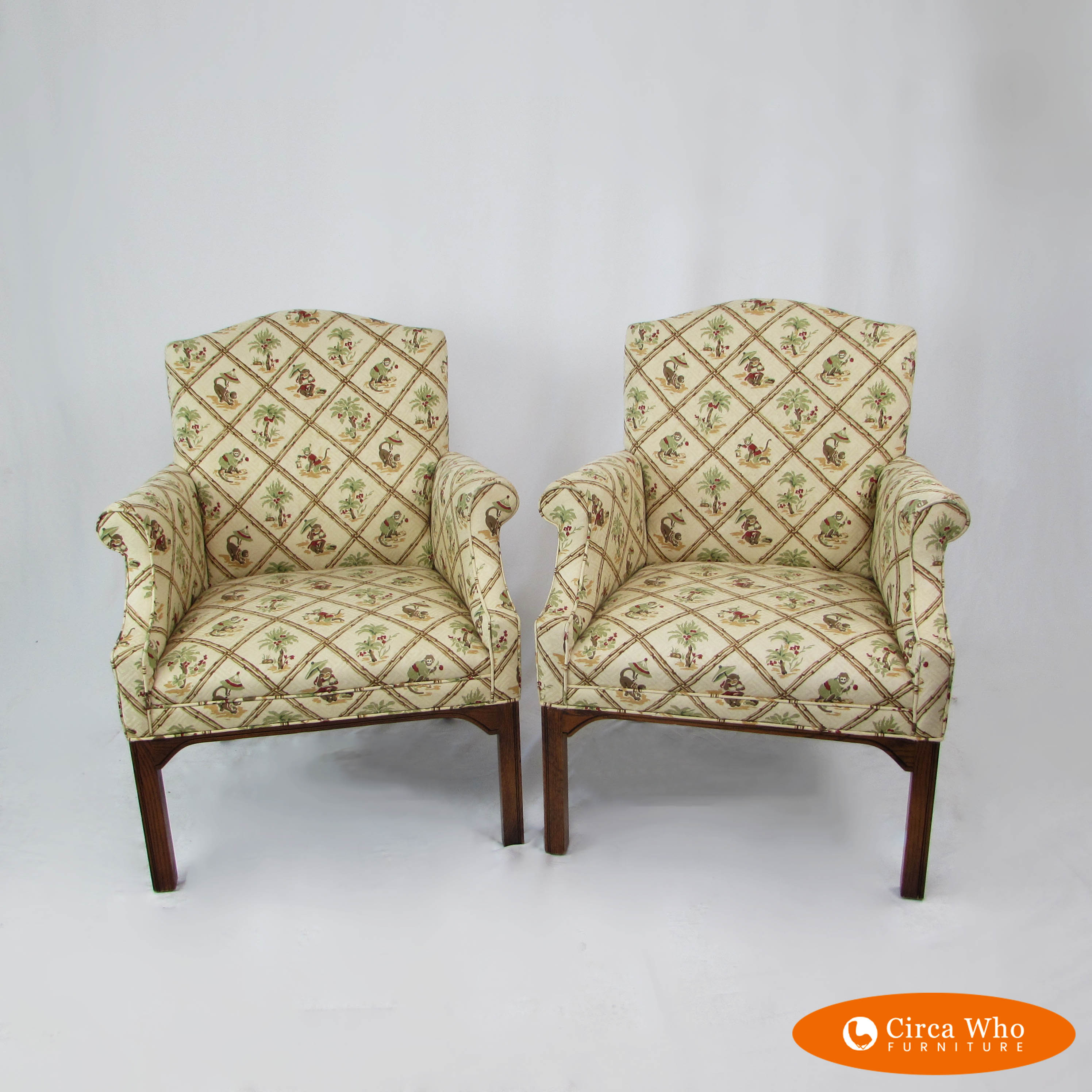 Arm Chairs Pair Of Upholstered Arm Chairs