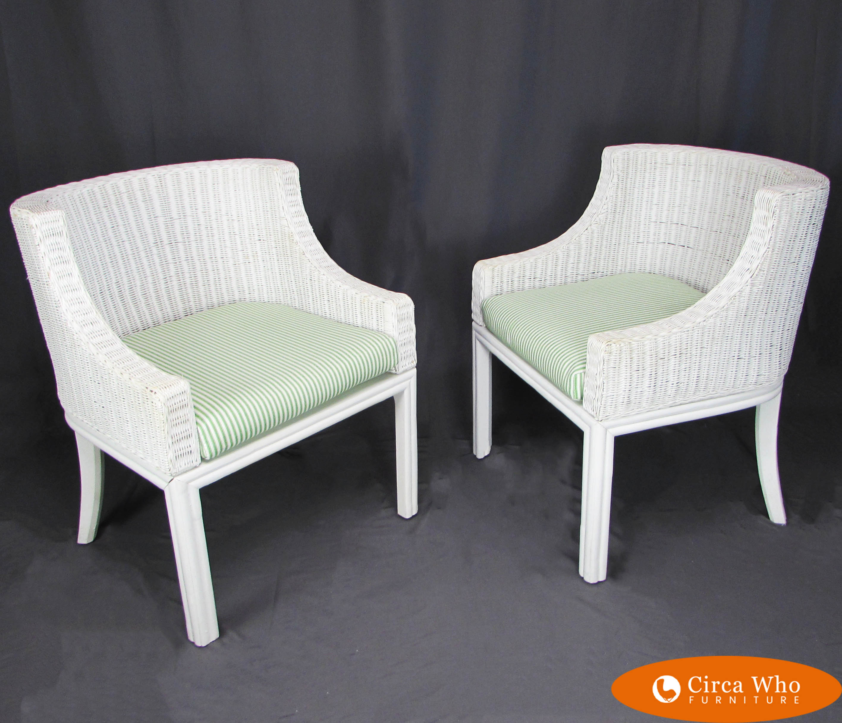 Rattan Chairs Pair Of White Woven Rattan Chairs
