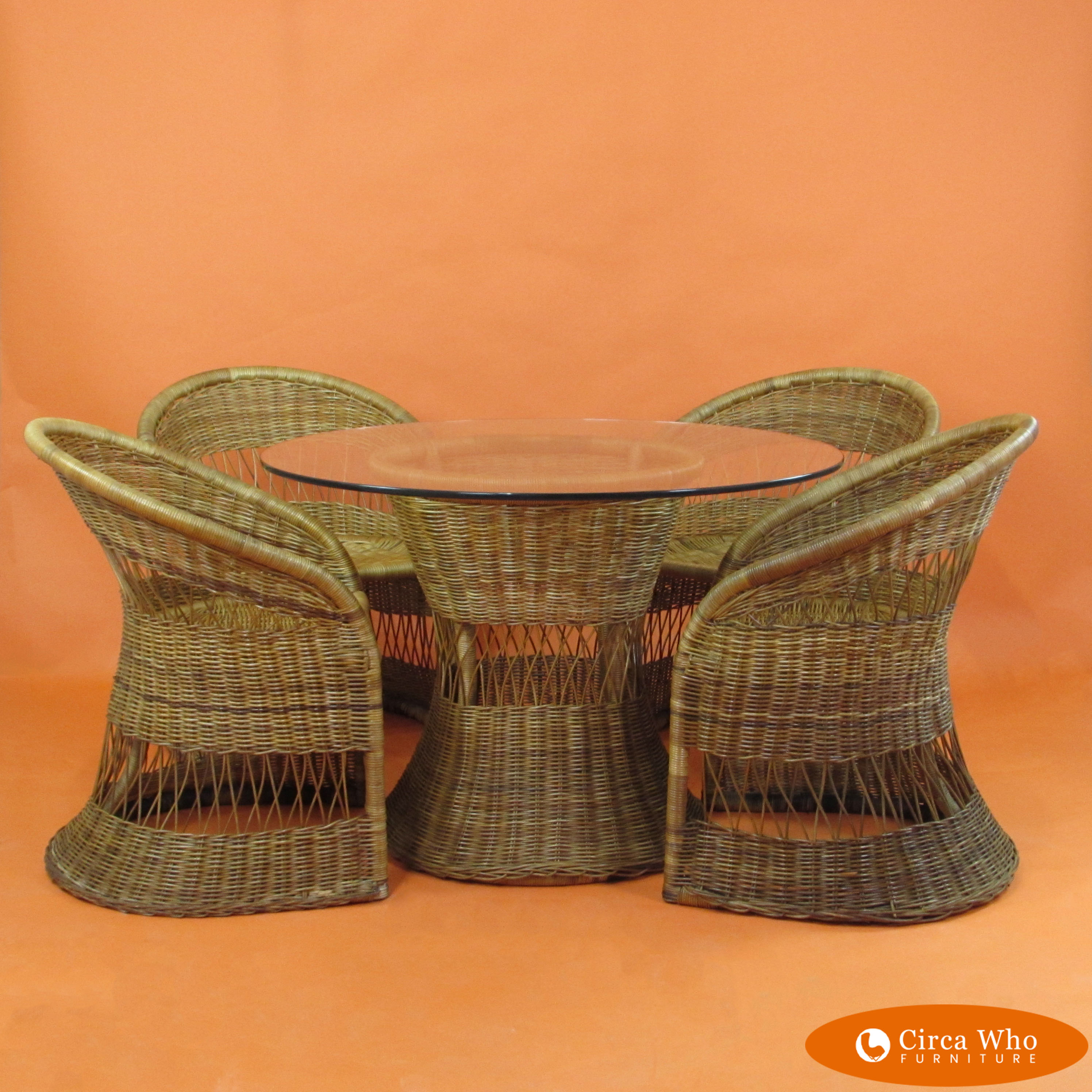Rattan Table Woven Rattan 4 Chairs W Table