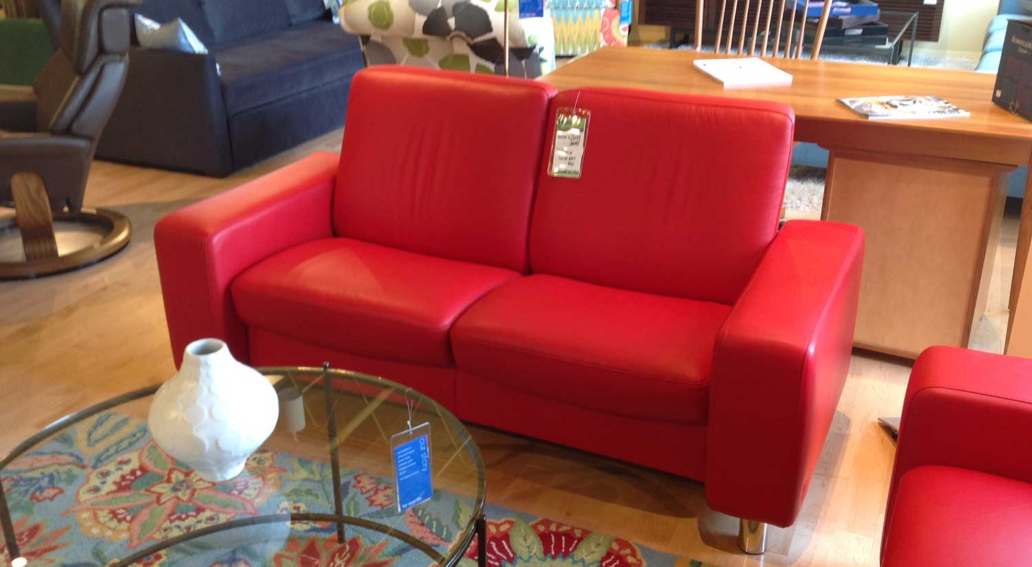Stressless Outlet Circle Furniture Space Stressless Red Lowback Loveseat