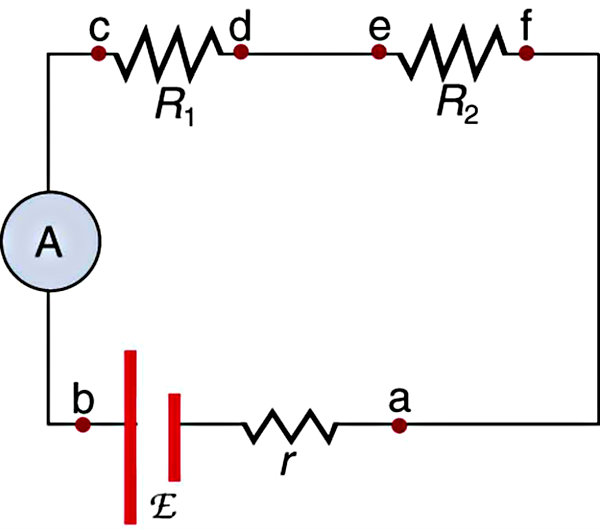 circuit diagram with ammeter for current measurement