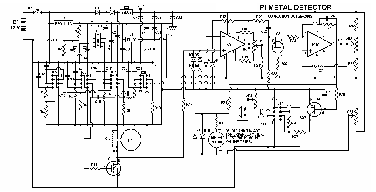 metal detectors circuit diagram