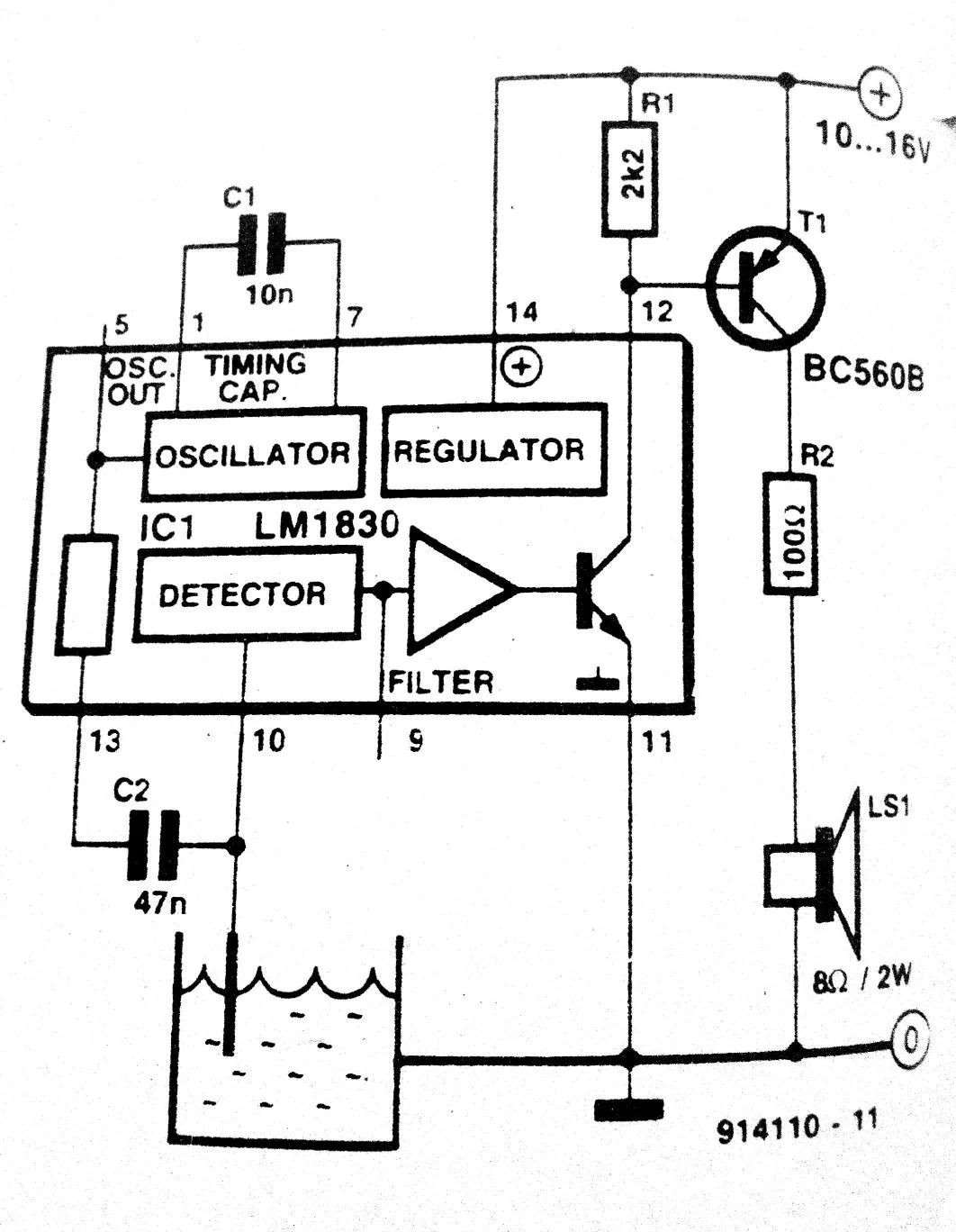 circuit for water level indicator