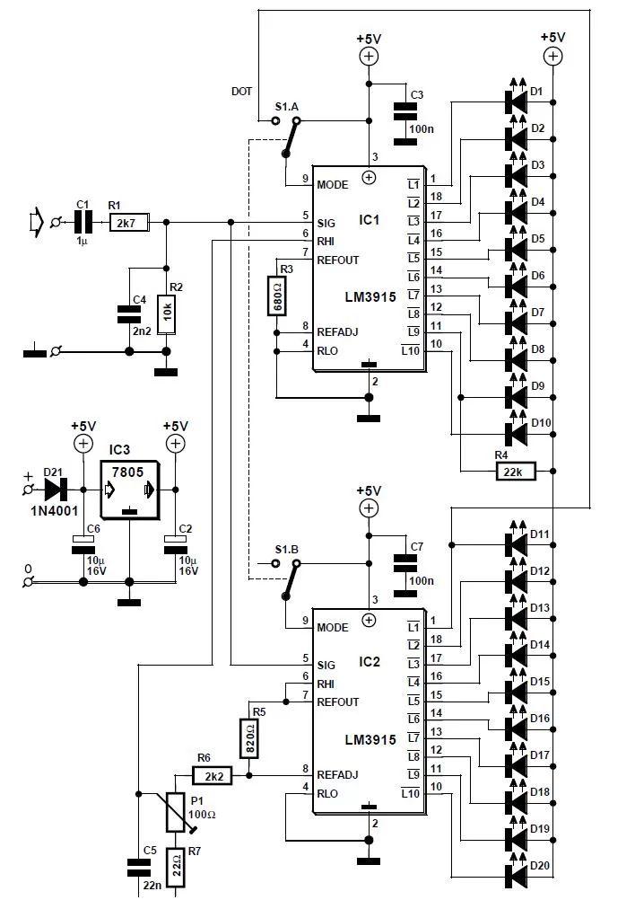 circuit diagram led vu meter