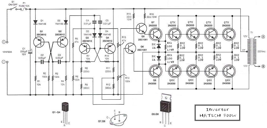 inverter circuit 12 volt to 220 volt at 500w