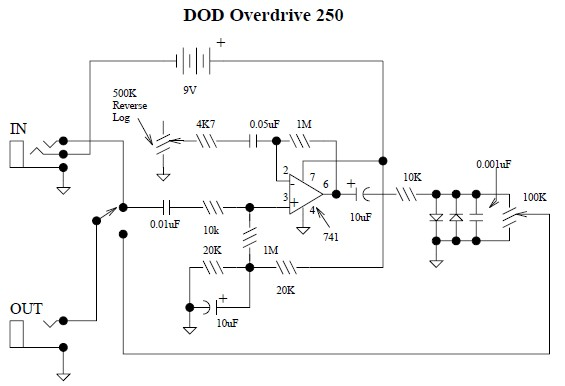 DOD Overdrive Preamp 250 Circuit Design