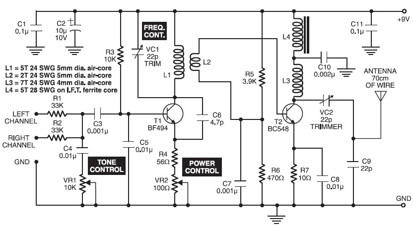 long range fm transmitter circuit electronic project design