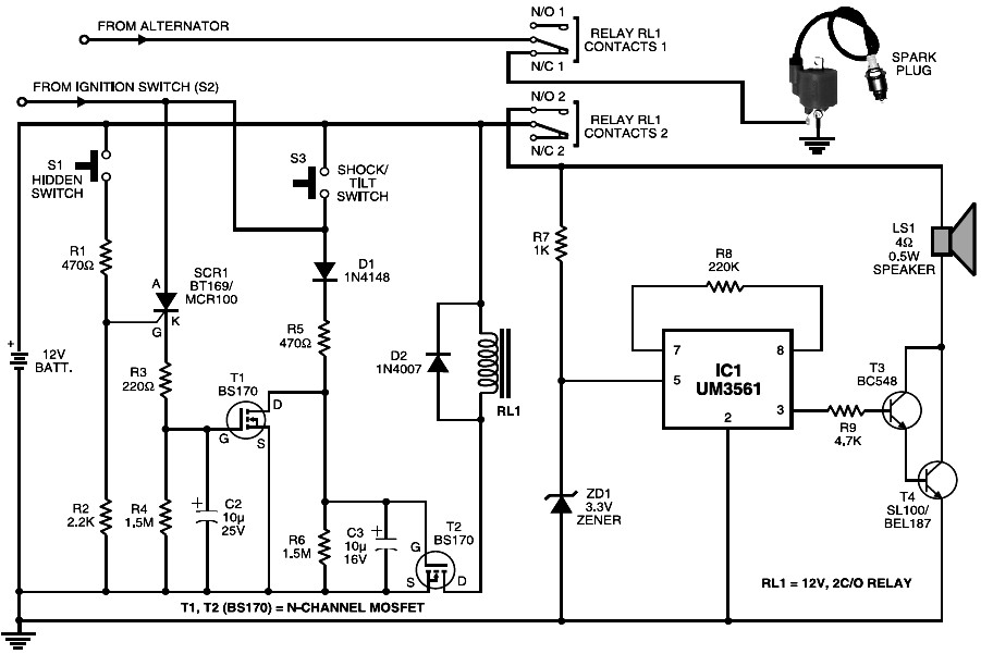 touch alarm system circuit diagram