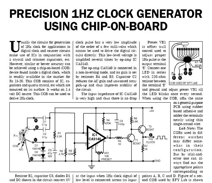1 Hz Clock Generator Circuit Document