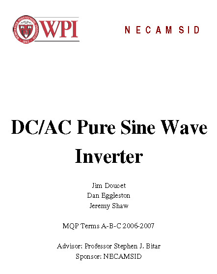 DC/AC Pure Sine Wave Inverter PDF Document