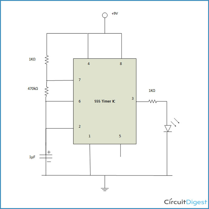 Flashing LED Circuit Diagram using 555 Timer IC