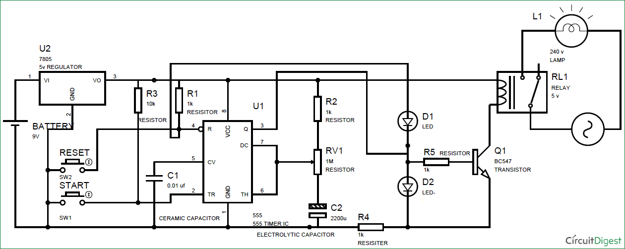 circuit diagram of 555 timer ic