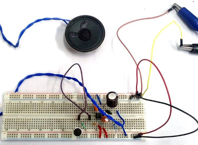 Simple Microphone to Speaker Amplifier Circuit Diagram