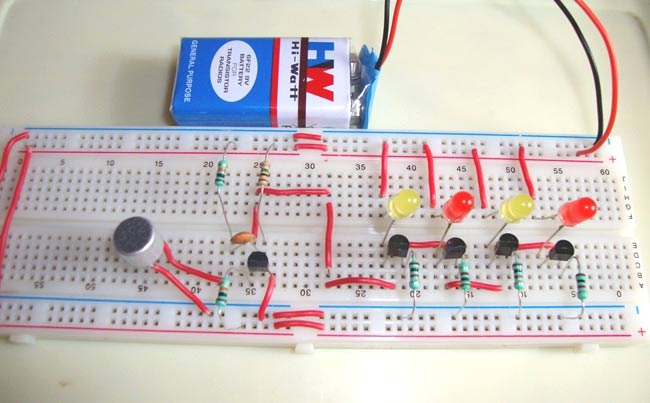 Simple Musical LEDs Circuit Diagram