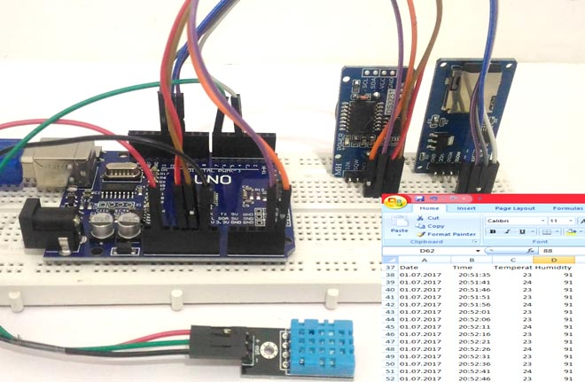 Arduino Data Logger Project (Log Temperature, Humidity, Time on SD