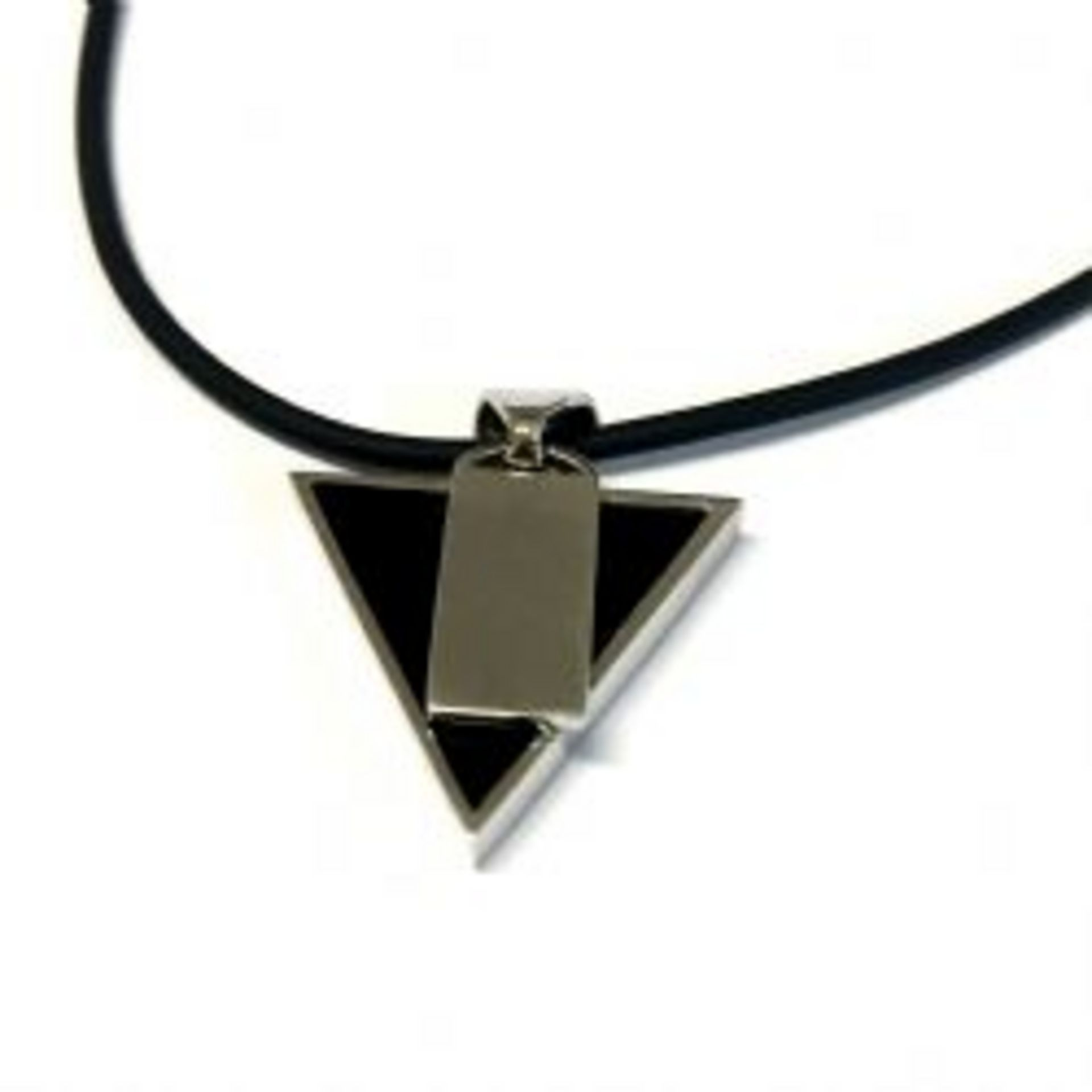 Vasco Rossi Rimini Vasco Rossi Onyx Triangle Necklace Pendant In Sterling Silver 925
