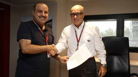 QMMF President Nasser bin Khalifa Al-Attiyah and Dorna Sports CEO Mr Carmelo Ezpeleta