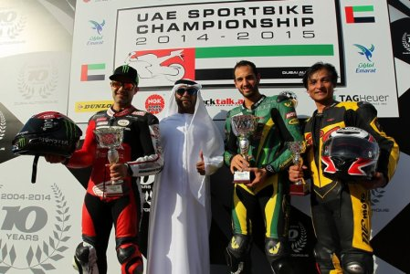 UAE Sportbikes 600 Class Race 2 podium (L to R) Second placed Mahmoud Tannir, winner Abdulaziz Binladen and Nasir Hussain