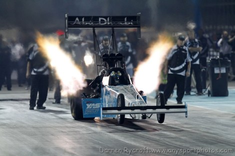 Flying Rod Fuller on his way to a new record breaking run at the Yas Circuit Drag Strip