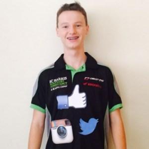 Huw, resplendent in his new team shirt