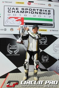 Sabah became the first lady motorcycle racer to compete in the National Race Series at the Dubai Autodrome and for her efforts collected the first female competitor trophy for her efforts...