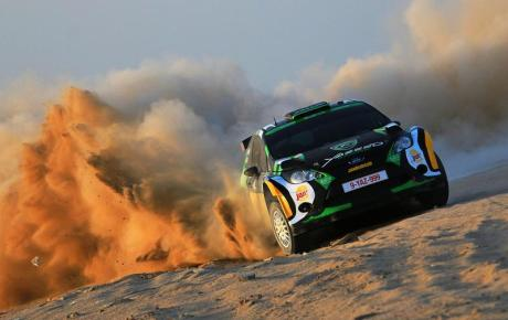 Saudi Arabia's Yazeed Al-Rajhi tests his Ford Fiesta RRC before the Kuwait International Rally this week