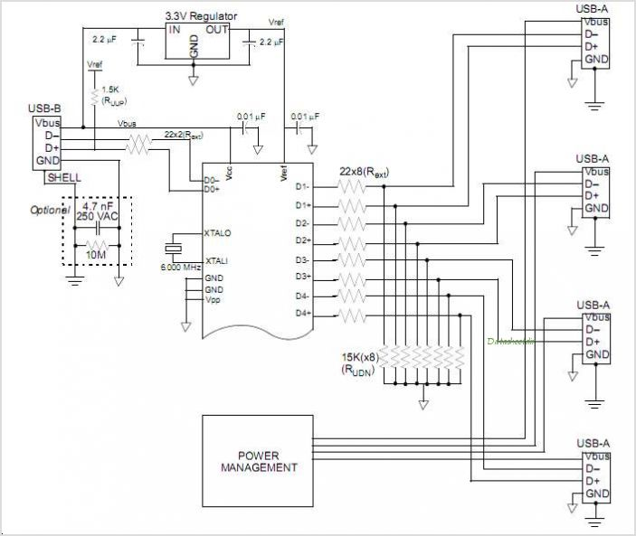 usb hub schematic diagram