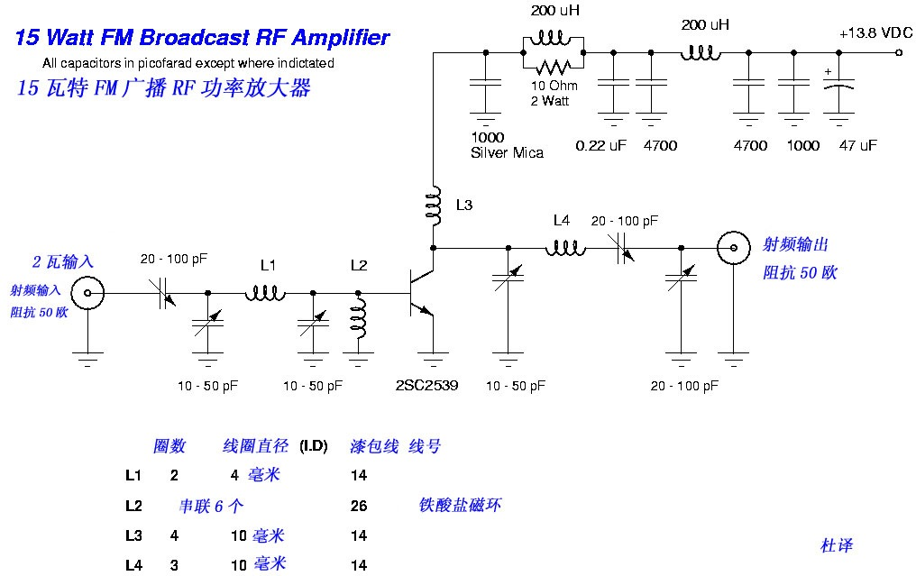1000 Watts Amplifier Circuit Diagrams 15w Fm Rf Amplifier With 2sc2539 Circuit Schematic
