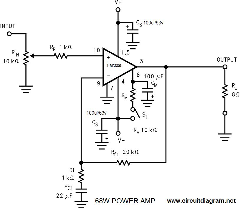 the class a power amplifier circuit schematic diagram