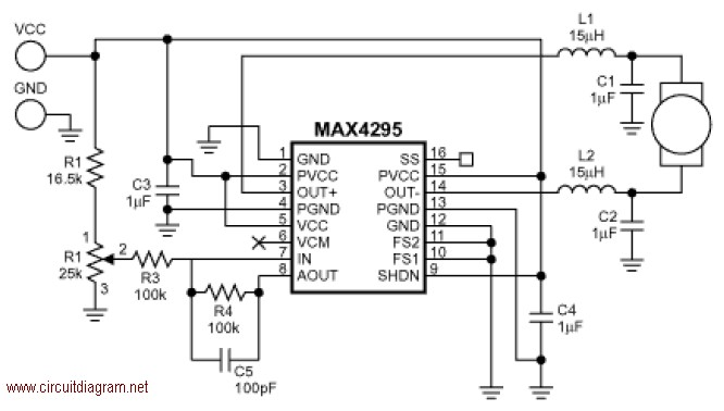 motor speed control with max4295 circuit diagram