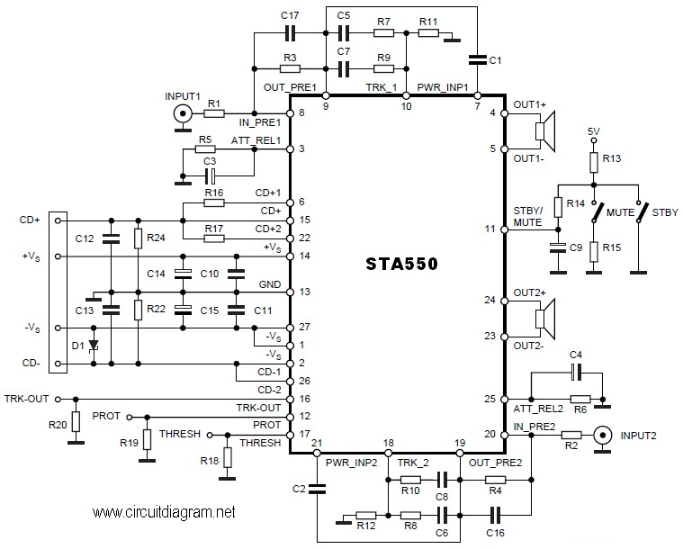 2x70w power stereo amplifier based on ic sta550