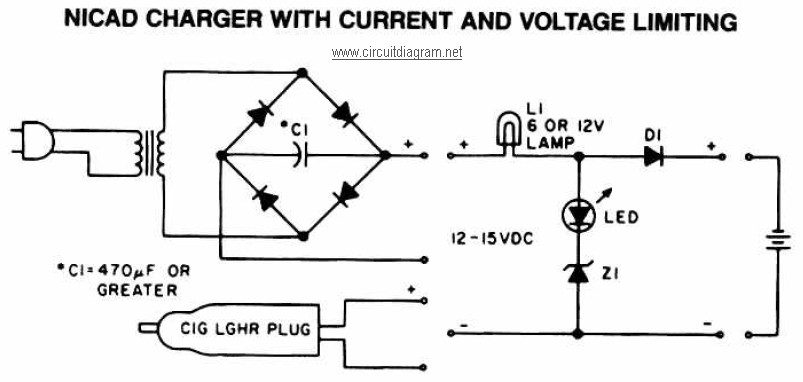 NiCAD Battery Charger with Current and Voltage Limiting - Circuit
