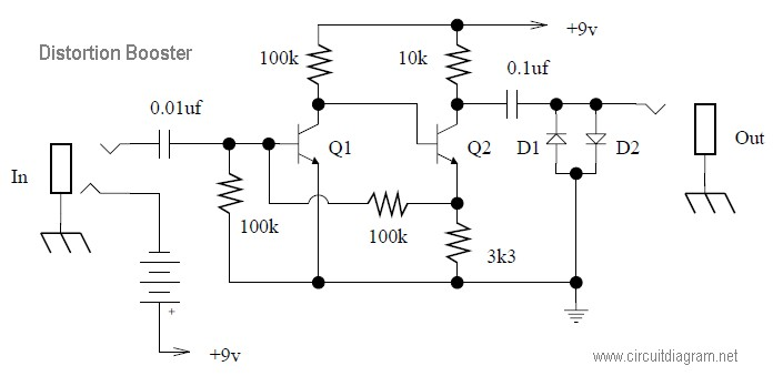 simple guitar distortion circuit