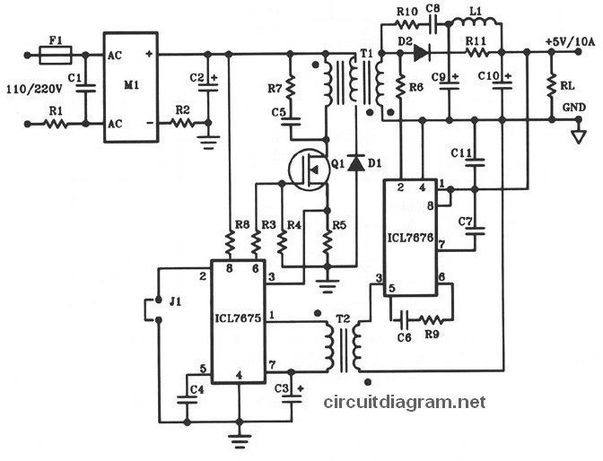 switching 5v 4w regulated dc power supply circuit diagram power