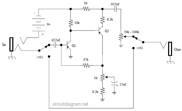 guitar effects circuit diagram