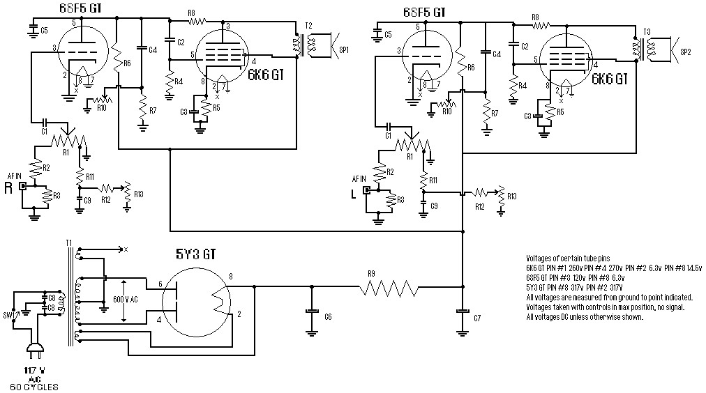 stereo tube amplifier circuit