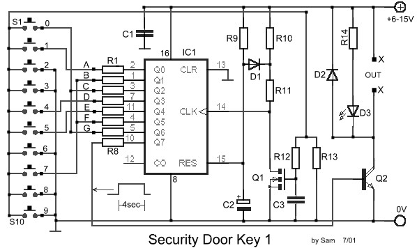 electronic door lock security key circuit diagram