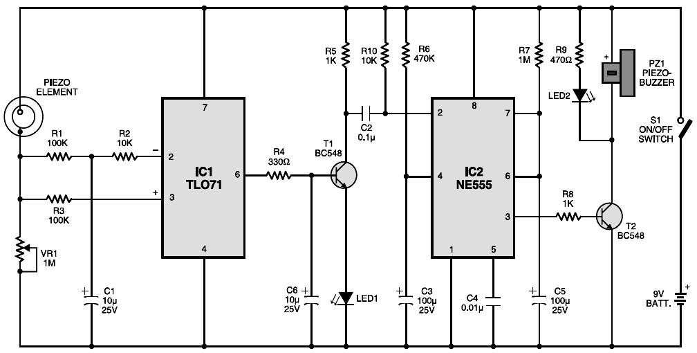 vibration sensor circuit schematic