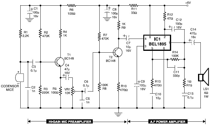 condenser mic audio amplifier circuit diagram