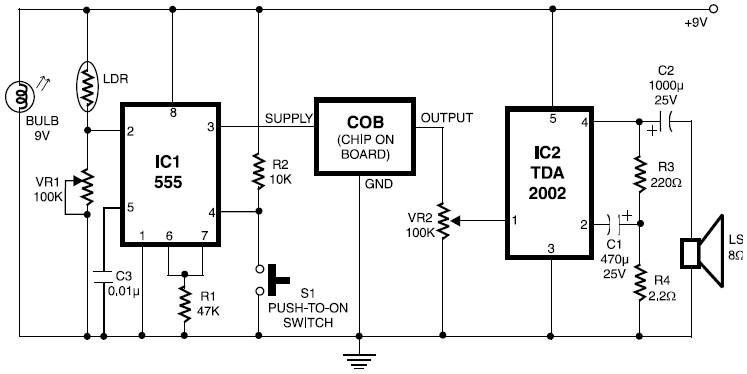 fire alarm with ldr sensor schematic design