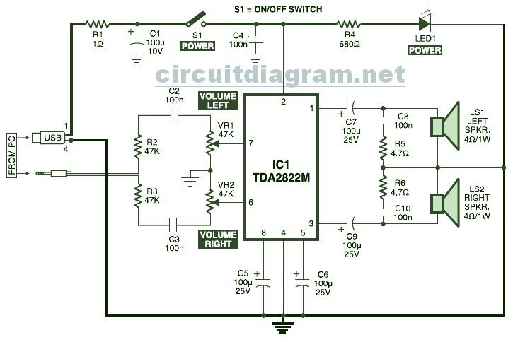USB Powered, Stereo Computer Speaker - Circuit Schematic