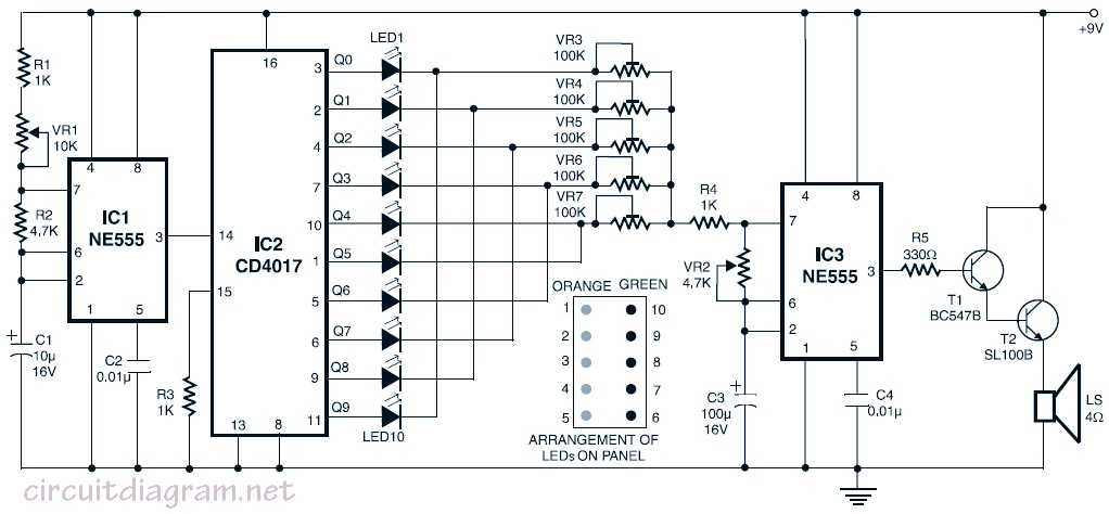 ne555 flashing leds schematic