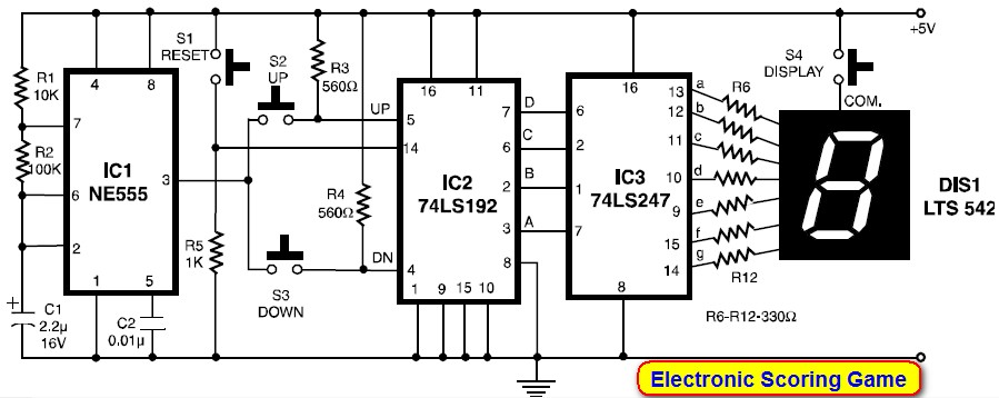 Scoring Display with 7 Segment LED - Circuit Schematic