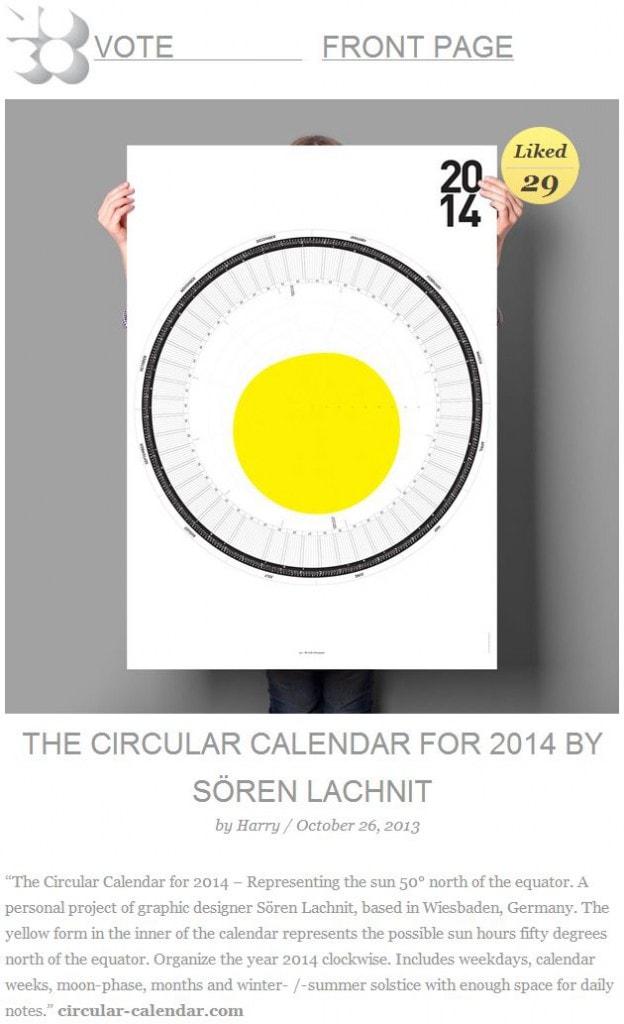 Featured on mocoloco The Circular Calendar for the year 2018 - circular calendar