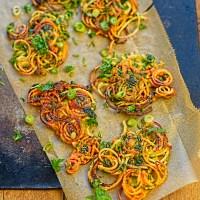 sweet potato and spring onion latkes