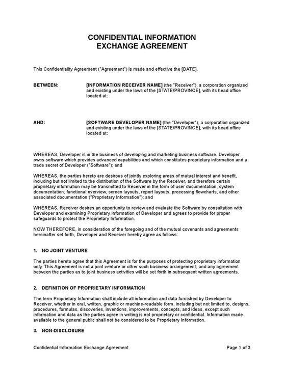 Confidential Information Exchange Agreement Cissap Business