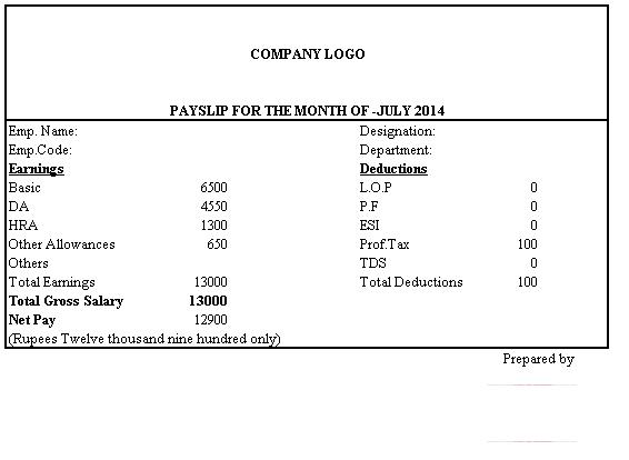 Simple Salary Slip Format Without Deductions citehrblog - pay slip templates