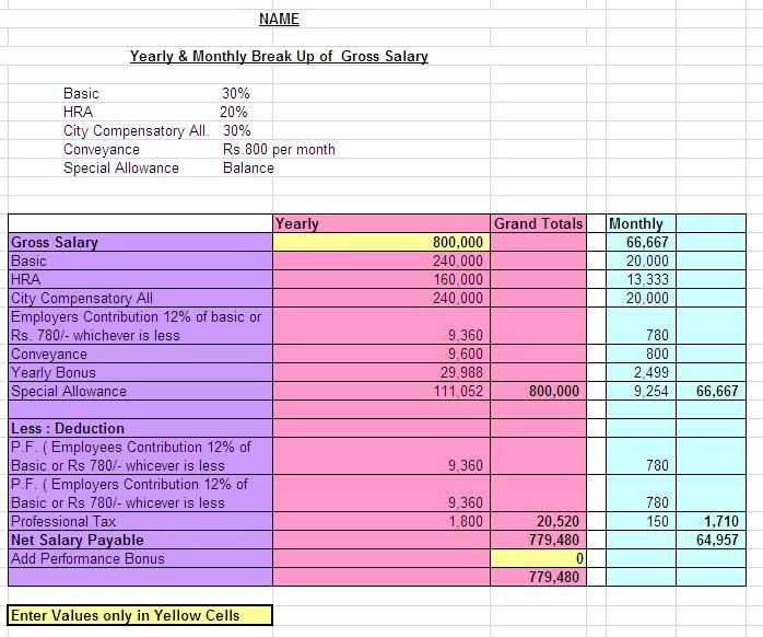 Salary Breakup Calculator Excel citehrblog