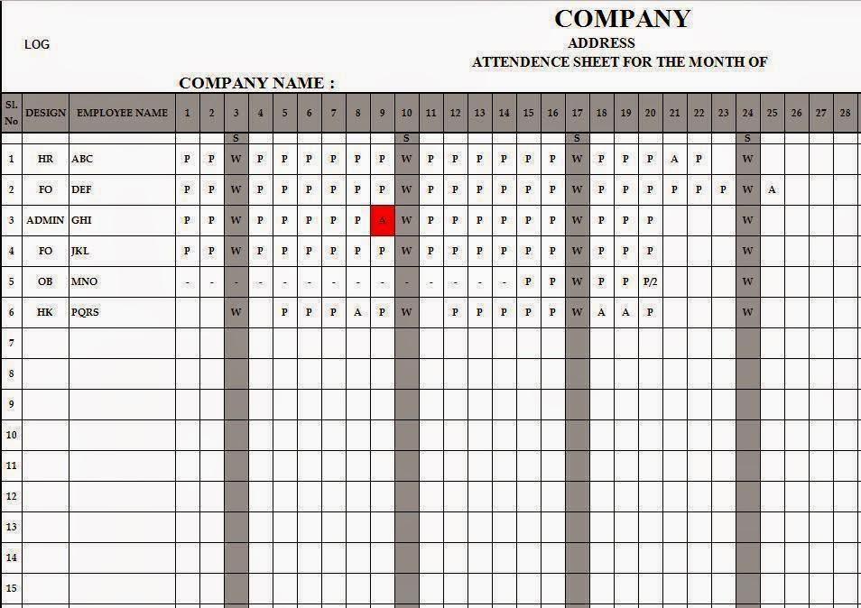 Employee Attendance Register in Excel Free Download citehrblog